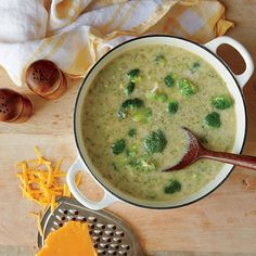 Creamy Broccoli-Cheese Soup Recipe, including Cooking Light's cream substitute made from overcooked brown rice.