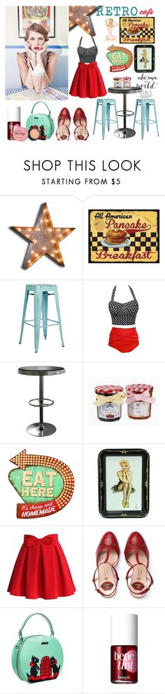 """""""Retro Café (contest @ POLYVORE & CO.)"""" by gpatricia ❤ liked on Polyvore featuring Vintage Marquee Lights, Office Star, Amerihome, Chicwish, Gucci, Voodoo Vixen and Benefit"""