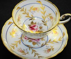 Royal Chelsea Pink Rose Gold Blue Wide Tea Cup and Saucer
