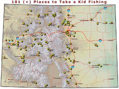 """Image of the """"101 (+) Places to Take a Kid Fishing"""" map."""