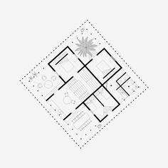 Nicolas Dorval-Bory Architectes — Maison Nioumachoi Architecture Drawing Plan, Architecture Design, Square Floor Plans, Architectural Floor Plans, Modern House Facades, Plan Drawing, Architect House, Facade House, House Layouts