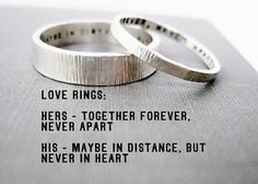 Quote Idea - Love Rings, His n Hers, Promise Rings, Wedding Rings, Anniversary Rings, Personalized, Stamped, Solid Sterling Silver #weddingring