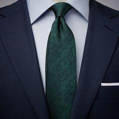 John Henric dark green tie in woven silk Blue Suit Wedding, Green Wedding Dresses, Wedding Ties, Wedding Attire, Dress Wedding, Wedding Colors, Wedding Decor, Wedding Stuff, Dark Blue Suit