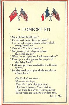"""This WWI era patriotic postcard features the flags of the United States, England and France. It is entitled """"A Comfort Kit"""" and is a religious invocation of protection for """"our boys"""" sent off to war."""