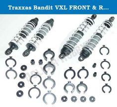 Traxxas Bandit VXL FRONT & REAR SHOCKS dampers. Traxxas 1/10 Bandit VXL (Model 2407 & 2407L)Front & Rear Shock Absorbers & SpringsMSRP: $35.99Local Hobby Shop: $32.78Dollar Hobbyz: Up to 95% Off MSRP! More Truck For Your Buck Since 2002!This Product Includes:Complete Front Shock Absorber & Spring Assembly (Part # 3760A)Long Ultra Shocks Factory Filled with OilFront White Springs (Part # 2458A)Complete Rear Shock Absorber & Spring Assembly (Part # 3762A)Long Ultra Shocks Factory Filled…