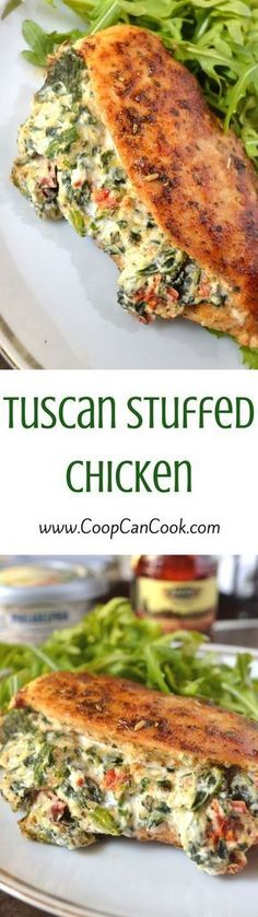 Tuscan Stuffed Chicken. What else do I need to say?? Garlic and Herb Cream Cheese, Sun-Dried Tomatoes...it's goodness. Pin it!