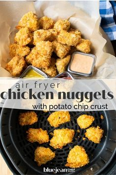 Air fryer chicken nuggets are a healthier way to enjoy crispy chicken bites. Coating them in crunchy potato chips makes breading them not only easy, but very tasty too! Use any flavor potato chips and come up with your very own nuggets that both kids and adults will love. So much better than store bought frozen nuggets. Moist Chicken, Crispy Chicken, Air Fryer Chips, Honey Mustard Dip, Dipping Sauces For Chicken, Homemade Chicken Nuggets, Chicken Sandwich Recipes, Juicy Steak, Crispy Potatoes