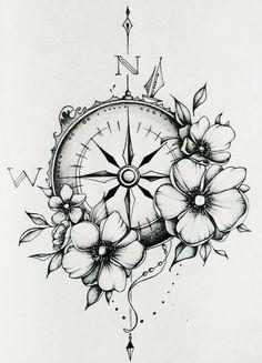 Compass & watches - Kompass & Uhr - Tattoo Designs For Women Sexy Tattoos, Trendy Tattoos, Cute Tattoos, Beautiful Tattoos, Flower Tattoos, Body Art Tattoos, Tattoo Drawings, Small Tattoos, Cross Tattoos