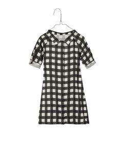 Sukienka koszulowa czarno-biała krata