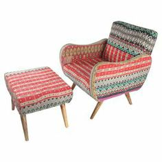 """Pairing a midcentury-inspired silhouette with vintage kantha throw upholstery, this mango wood arm chair and ottoman set is a captivating blend of two bold styles.    Product: Chair and ottomanConstruction Material: Mango wood and vintage reclaimed kantha throwColor: MultiDimensions: Chair: 33"""" H x 27"""" W x 28"""" DOttoman: 17"""" H x 23"""" W x 18"""" DNote: Assembly required"""