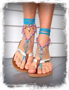 Blue SUNFLOWER BAREFOOT Sandals Hippie FESTIVAL sandals door GPyoga, $79,00