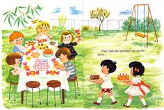 They had the birthday tea on the lawn. Topsy and Tim's Birthday Party Jean Gareth Adamson 1968 Comments and faves Vintage Children's Books, Vintage Cards, Vintage Illustration Art, Book Illustrations, Vintage Birthday Cards, Beautiful Sketches, Little Golden Books, Heart For Kids, Animal Design