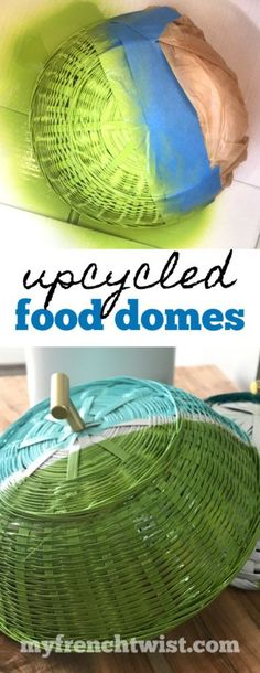 Modern-day Inside Style In Your Laundry Space Picnic Food Domes - Made From Upcycled 50 Cent Baskets Upcycled Home Decor, Upcycled Crafts, Crafts To Sell, Home Crafts, Easy Crafts, Picnic Decorations, Painted Baskets, French Twist Hair, French Twists