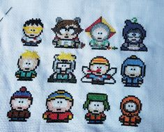 South Park cross stitch with Coon and Friends. Embroidery of Stan Marsh, Eric Cartman, Kyle Broflovski, Kenny McCormic, Clyde Donovan and Butters Stotch #southpark #cross #stitch #crossstitch #coonandfriends #perler #pattern #southparkcrossstitch #embroidery #mysterion #thecoon #kyle #kenny #ericcartman #eric #cartman #clyde #stan