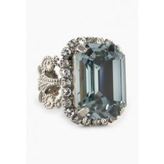 Emerald Cut Swarovski Crystal Statement Ring
