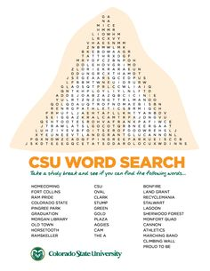 Need a study break? Try this word search!