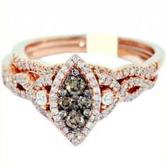 Brown and White Marquise Diamond Engagement Ring Bridal Set - Colorful gemstones makes it perfect for a lady with this Brown and White Marquise Diamond Engagement Ring Bridal Set stamped in 14K Rose Gold in a Pave setting featuring Round Brown gemstones in a Marquise cut mount with White Round accent stones on the halo mount, twist shank and band. The Brown and White Marquise Diamond Engagement Ring Bridal Set has a gem weight of .50 carats with an I2-I3 in clarity. #unusualengagementrings