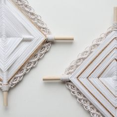 Ojo de Dios- Gods Eye modern weave on pine dowel color white and gold with macrame size about 12 inch Choose between my two patterns, please see picture 2 or 3 . Let me know your choose in note to seller . Thanks ! Perfect as nursery decor or everywhere you want an elegant touch
