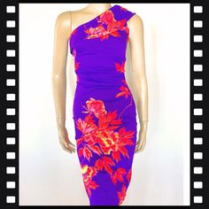 478955837f Purple with pink and white floral print by Karen Millen. One shouldered  mini dress RRP