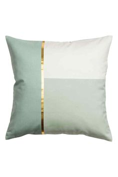 Block-coloured cushion cover: Cushion cover in cotton twill with a block-coloured front with a metallic print, solid colour back and concealed zip.