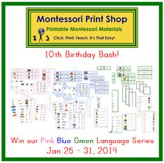 Jan 2014 - Win our printable Montessori Pink, Blue, and Green Language Series Bundles. Open world-wide until Jan 31, 2014.