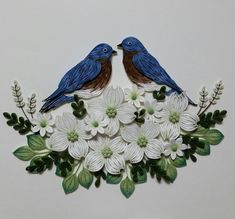 #bird #bluebird #paper #quilling #paperquilling #flower #white #blue #green #종이감기 #종이감기공예 #새 #꽃 #파란새 #작품 #2 #완성