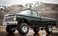 Vintage lifted black truck