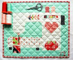 The Stitched with Love Mini quilt pattern by Thimbleblossoms in two different colorways. Also see some fun new quilt block panels available in the shop. Nancy Zieman, Small Quilts, Mini Quilts, Scrappy Quilts, Easy Quilts, Quilting Projects, Sewing Projects, Quilting Ideas, Quilting Stencils