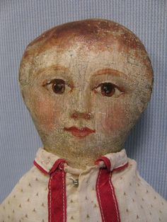 """15"""" Early Folk Art c1875 Doll Sweet & Artistically HAND-PAINTED FACE"""