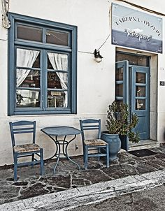 Myrina, Lemnos, Greece | Local Taverna - Myrina - Lemnos Greece (EM5) | Flickr - Photo Sharing! Greece Tours, Greece Travel, Vacation Places, Vacations, Places In Greece, Visit Greece, Blue Doors, Chios, Greece Islands