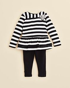DKNY Infant Girls' Striped Ruffle Tunic & Legging Set - Sizes 12-24 Months_0