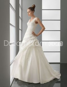 Fabulous V-neck Floor-length A-line Wedding Dresses with Pick-ups 2012 New Style