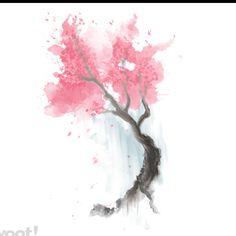 Watercolor cherry blossom tree