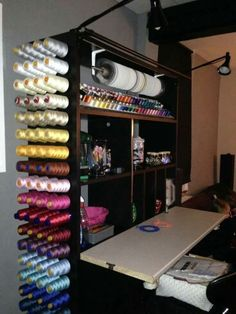 Ideas for sewing studio decor inspiration Craft Room Storage, Sewing Room Storage, Sewing Room Design, Craft Room Design, Sewing Spaces, Sewing Room Organization, My Sewing Room, Sewing Studio, Sewing Rooms