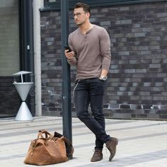 awesome Henley and jeans (and bag)... by http://www.danafashiontrends.us/big-men-fashion/henley-and-jeans-and-bag/