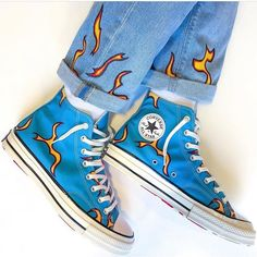𝐆𝐎𝐋𝐅 𝐥𝐞 𝐅𝐋𝐄𝐔𝐑* - Denim Painted By Mode Converse, Converse Style, Converse Chuck, High Top Converse, Denim Converse, Converse Sneakers, Dior Sneakers, Sneakers Mode, Sneakers Art