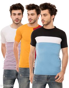 Tshirts Trendy Men's Cotton Blend Tshirts Combo Fabric: Cotton Blend Sleeves: Half Sleeves Are Included Size: S M L XL (Refer Size Chart)  Length: Refer Size Chart Fit: Regular Fit Type: Stitched Description: It Has 3 Pieces of Men's T-Shirts Pattern: Solid Country of Origin: India Sizes Available: S, M, L, XL   Catalog Rating: ★4.1 (869)  Catalog Name: Stylish Trendy Men's Cotton Blend Tshirts Combo Vol 10 CatalogID_284670 C70-SC1205 Code: 005-2146048-8721