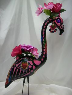 day of the dead skeleton flamingo tiara by muertomingos on Etsy