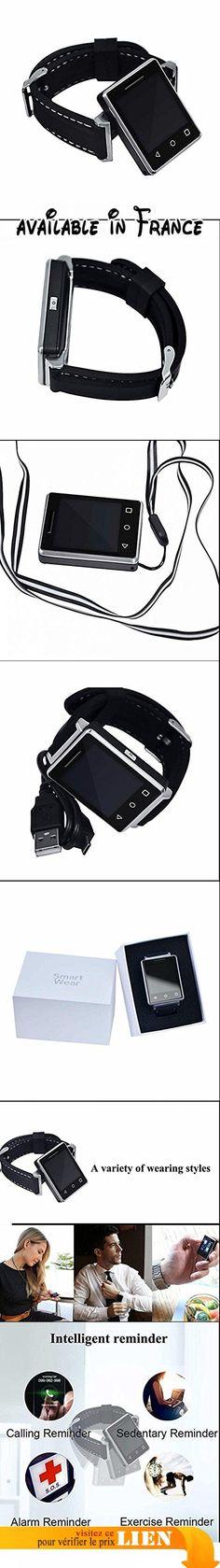 Smartwatch avec Bluetooth, Moniteur Cardiaque, Analyse de Sommeil, Podomètre et Alarme de Sédentaire Compatible avec Smartphone iPhone Android. Utiliser comme un téléphone autonome - Si la carte SIM placée dans l'horloge, réseau GSM 850/900/1800/1900 MHz. Vous pouvez envoyer des textes sur l'horloge et de lire, ou recevoir des appels. Si la carte SIM pas configuré, vous pouvez connecter montre avec téléphone par Bluetooth, vous pouvez téléphoner à l'appel, y compris