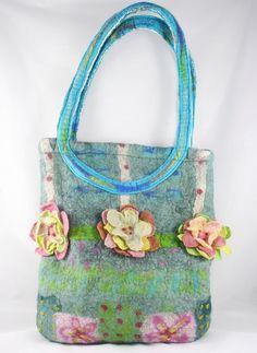 Grand sac à main feutré sac vert bleu sarcelle par FrouFrouFelt