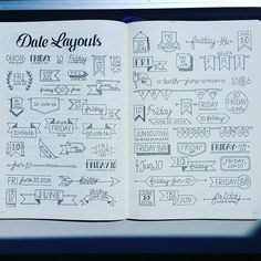 date headers and lettering bullet journal planner Bullet Journal Inspo, My Journal, Journal Pages, Journal Fonts, Bullet Journal Goals Layout, Bullet Journal Ideas Handwriting, Bullet Journal Layout Templates, Bullet Journal Banner, Bullet Journal Labels