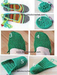 tutorial zapato tejido