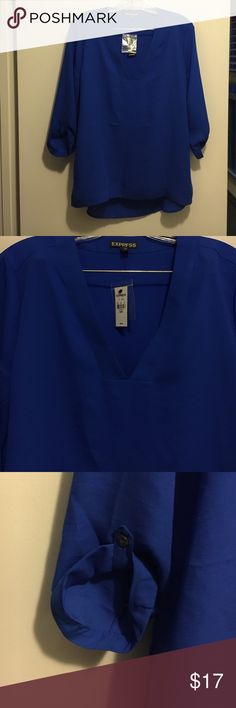 Express new with tags Blue blouse with tags Express Tops Blouses