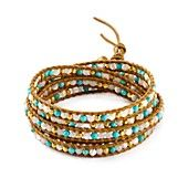 Chan Luu Wrap Bracelet- 18k gold–plated sterling silver/turquoise/Mother of Pearl