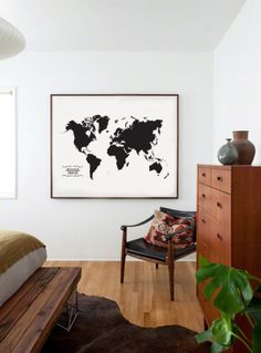 world map - Black and white, Typography Poster, minimal wall art, inspring quote, life