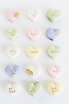Sweet Valentine's Day DIY ideas from cake toppers to candy grams get all the free printables and DIY details you need to get crafting.: DIY Conversation Heart Macarons
