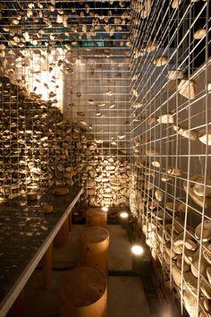 Cafe Ato by Design BONO, Seoul store design. Stone wall
