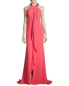 T9P7R Carmen Marc Valvo Beaded-Neck Draped-Front Toga Gown, Coral