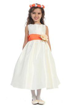Orange Sash Flower Girl Dress