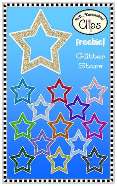 Freebie! 14 Glitter Stars (outlined in white) CU OK - See terms in product. http://www.teacherspayteachers.com/Product/Clip-Art-FreebieGlitter-Stars